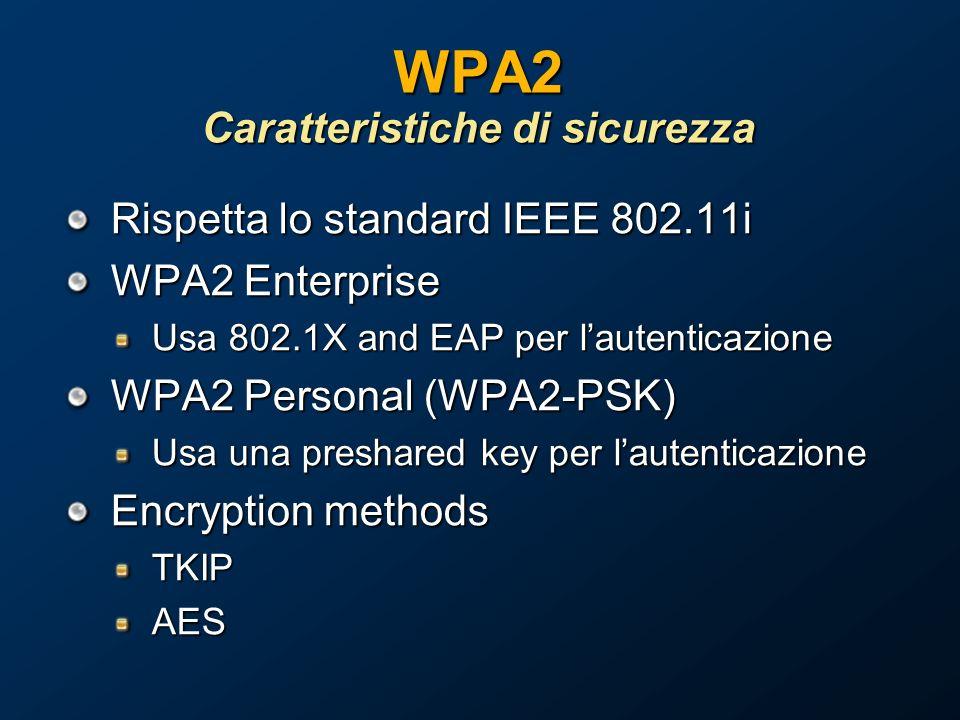 WPA2 Caratteristiche di sicurezza Rispetta lo standard IEEE 802.11i WPA2 Enterprise Usa 802.1X and EAP per lautenticazione WPA2 Personal (WPA2-PSK) Usa una preshared key per lautenticazione Encryption methods TKIPAES