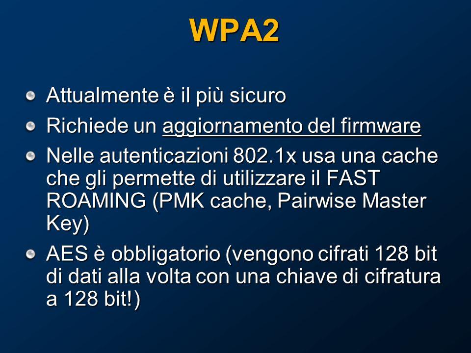 WPA2 Attualmente è il più sicuro Richiede un aggiornamento del firmware Nelle autenticazioni 802.1x usa una cache che gli permette di utilizzare il FAST ROAMING (PMK cache, Pairwise Master Key) AES è obbligatorio (vengono cifrati 128 bit di dati alla volta con una chiave di cifratura a 128 bit!)