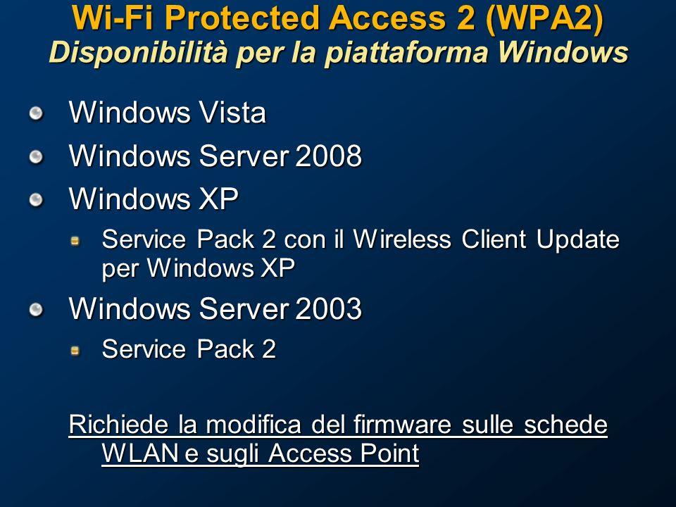 Wi-Fi Protected Access 2 (WPA2) Disponibilità per la piattaforma Windows Windows Vista Windows Server 2008 Windows XP Service Pack 2 con il Wireless Client Update per Windows XP Windows Server 2003 Service Pack 2 Richiede la modifica del firmware sulle schede WLAN e sugli Access Point