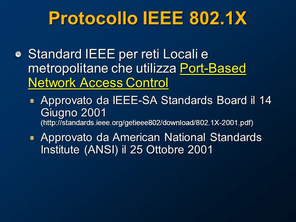 Standard IEEE per reti Locali e metropolitane che utilizza Port-Based Network Access Control Approvato da IEEE-SA Standards Board il 14 Giugno 2001 (http://standards.ieee.org/getieee802/download/802.1X-2001.pdf) Approvato da American National Standards Institute (ANSI) il 25 Ottobre 2001