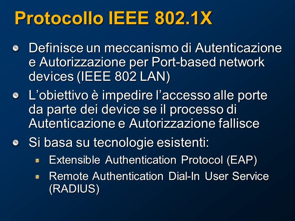 Protocollo IEEE 802.1X Definisce un meccanismo di Autenticazione e Autorizzazione per Port-based network devices (IEEE 802 LAN) Lobiettivo è impedire laccesso alle porte da parte dei device se il processo di Autenticazione e Autorizzazione fallisce Si basa su tecnologie esistenti: Extensible Authentication Protocol (EAP) Remote Authentication Dial-In User Service (RADIUS)