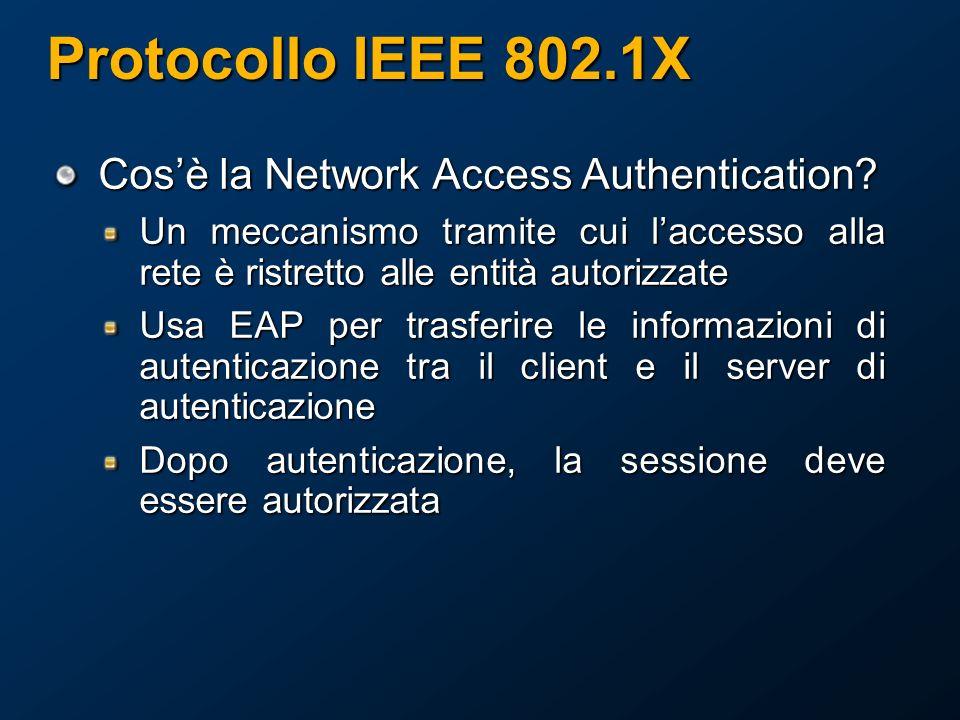 Protocollo IEEE 802.1X Cosè la Network Access Authentication.