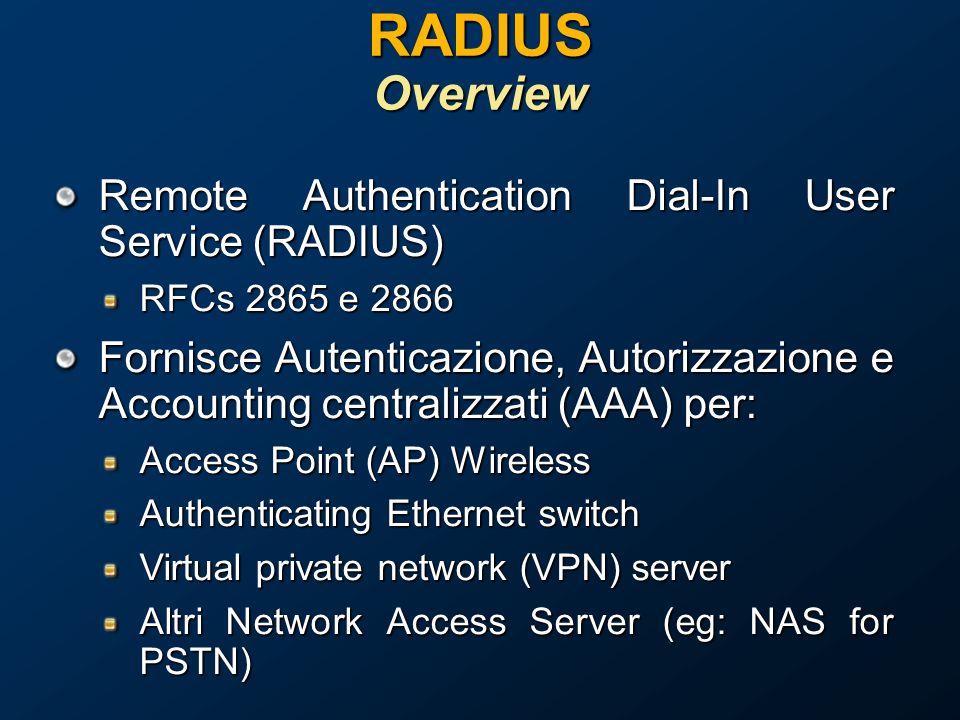 RADIUS Overview Remote Authentication Dial-In User Service (RADIUS) RFCs 2865 e 2866 Fornisce Autenticazione, Autorizzazione e Accounting centralizzati (AAA) per: Access Point (AP) Wireless Authenticating Ethernet switch Virtual private network (VPN) server Altri Network Access Server (eg: NAS for PSTN)