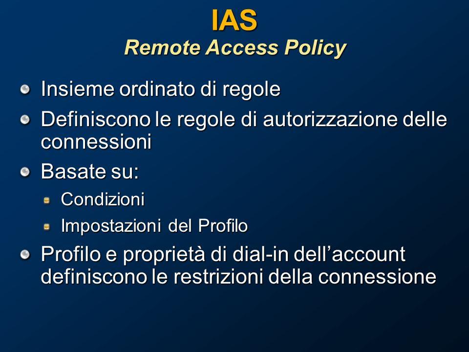 IAS Remote Access Policy Insieme ordinato di regole Definiscono le regole di autorizzazione delle connessioni Basate su: Condizioni Impostazioni del Profilo Profilo e proprietà di dial-in dellaccount definiscono le restrizioni della connessione