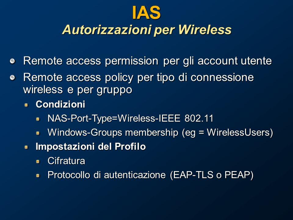 IAS Autorizzazioni per Wireless Remote access permission per gli account utente Remote access policy per tipo di connessione wireless e per gruppo Condizioni NAS-Port-Type=Wireless-IEEE 802.11 Windows-Groups membership (eg = WirelessUsers) Impostazioni del Profilo Cifratura Protocollo di autenticazione (EAP-TLS o PEAP)