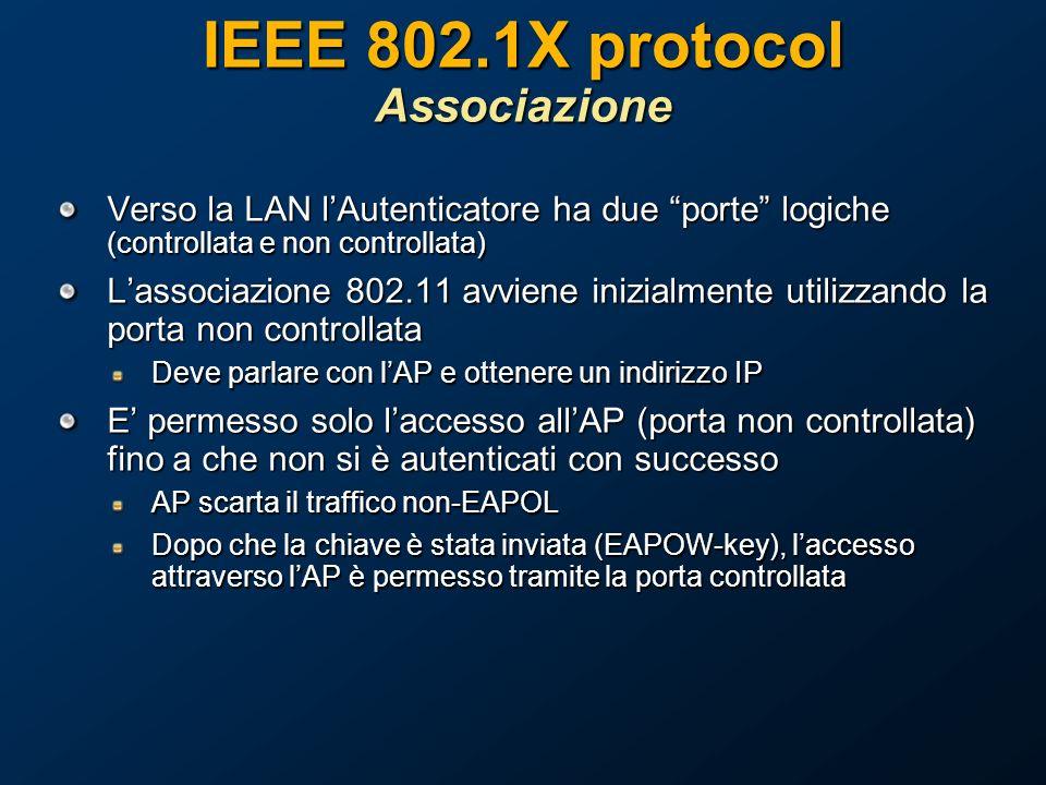 IEEE 802.1X protocol Associazione Verso la LAN lAutenticatore ha due porte logiche (controllata e non controllata) Lassociazione 802.11 avviene inizialmente utilizzando la porta non controllata Deve parlare con lAP e ottenere un indirizzo IP E permesso solo laccesso allAP (porta non controllata) fino a che non si è autenticati con successo AP scarta il traffico non-EAPOL Dopo che la chiave è stata inviata (EAPOW-key), laccesso attraverso lAP è permesso tramite la porta controllata