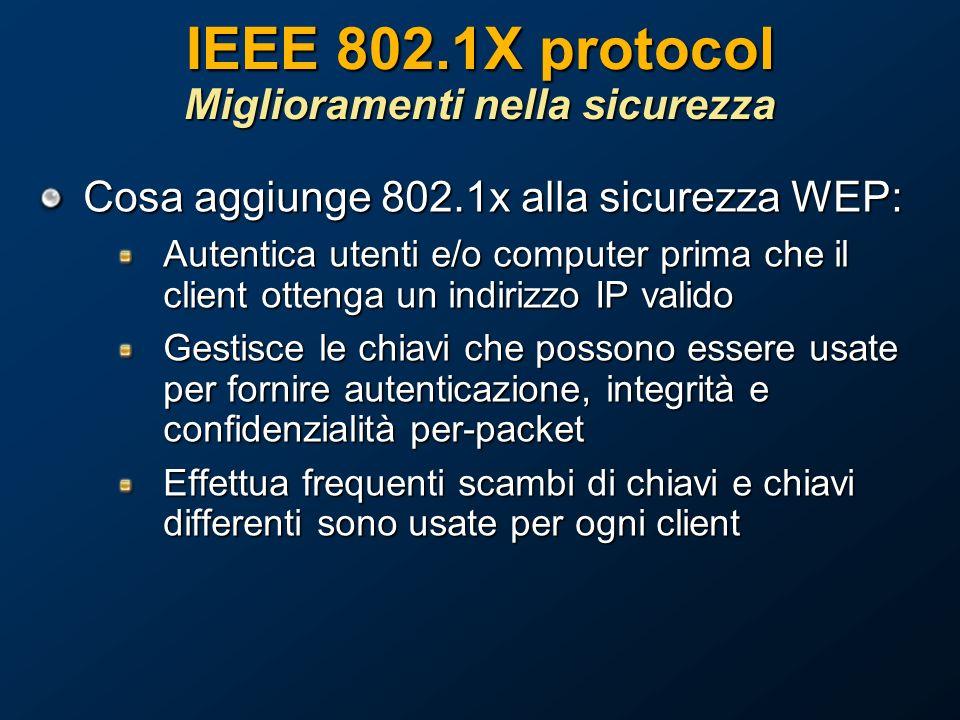 IEEE 802.1X protocol Miglioramenti nella sicurezza Cosa aggiunge 802.1x alla sicurezza WEP: Autentica utenti e/o computer prima che il client ottenga un indirizzo IP valido Gestisce le chiavi che possono essere usate per fornire autenticazione, integrità e confidenzialità per-packet Effettua frequenti scambi di chiavi e chiavi differenti sono usate per ogni client