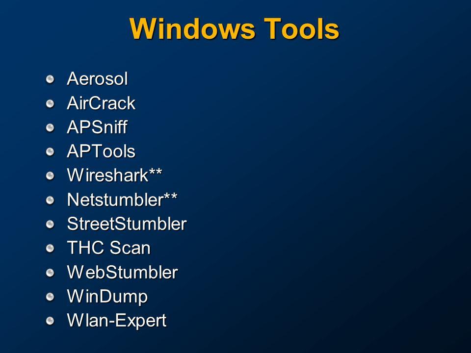 Windows Tools AerosolAirCrackAPSniffAPToolsWireshark**Netstumbler**StreetStumbler THC Scan WebStumblerWinDumpWlan-Expert