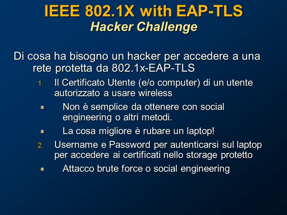 IEEE 802.1X with EAP-TLS Hacker Challenge Di cosa ha bisogno un hacker per accedere a una rete protetta da 802.1x-EAP-TLS 1.