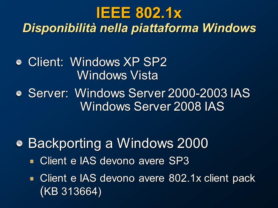 IEEE 802.1x Disponibilità nella piattaforma Windows Client: Windows XP SP2 Windows Vista Server: Windows Server 2000-2003 IAS Windows Server 2008 IAS Backporting a Windows 2000 Client e IAS devono avere SP3 Client e IAS devono avere 802.1x client pack ( KB 313664)