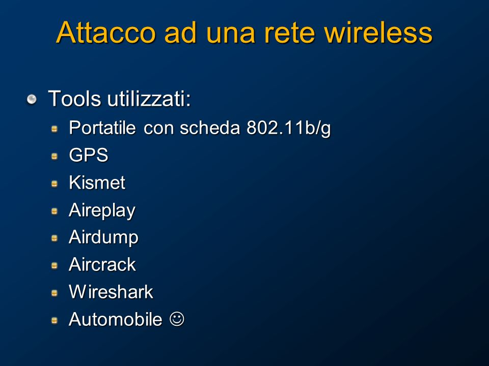 RADIUS Overview Remote Authentication Dial-In User Service (RADIUS) RFCs 2865 e 2866 Fornisce Autenticazione, Autorizzazione e Accounting centralizzati (AAA) per: Access Point (AP) Wireless Authenticating Ethernet switch Virtual private network (VPN) server Altri Network Access Server (eg: NAS for PSTN)