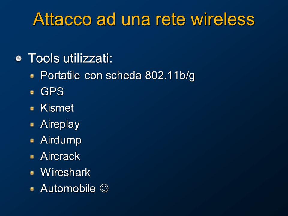 Attacco ad una rete wireless Tools utilizzati: Portatile con scheda 802.11b/g GPSKismetAireplayAirdumpAircrackWireshark Automobile Automobile
