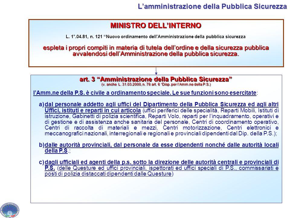 MINISTRO DELLINTERNO L. 1°.04.81, n. 121 Nuovo ordinamento dellAmministrazione della pubblica sicurezza espleta i propri compiti in materia di tutela