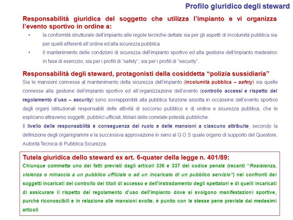 Responsabilità degli steward, protagonisti della cosiddetta polizia sussidiaria Sia le mansioni connesse al mantenimento della sicurezza dellimpianto
