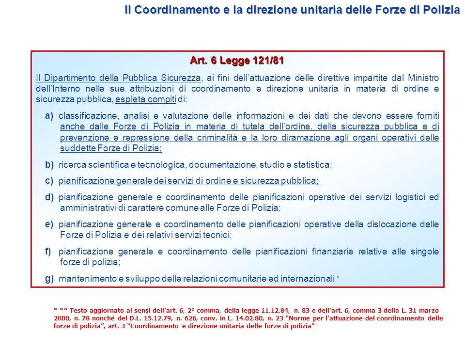 Il Coordinamento e la direzione unitaria delle Forze di Polizia Art. 6 Legge 121/81 Il Dipartimento della Pubblica Sicurezza, ai fini dellattuazione d