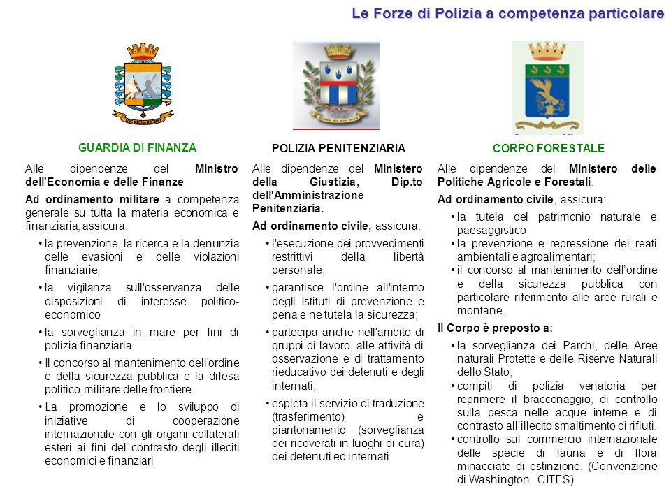 Le Forze di Polizia a competenza particolare POLIZIA PENITENZIARIA CORPO FORESTALE Alle dipendenze del Ministero della Giustizia, Dip.to dell'Amminist