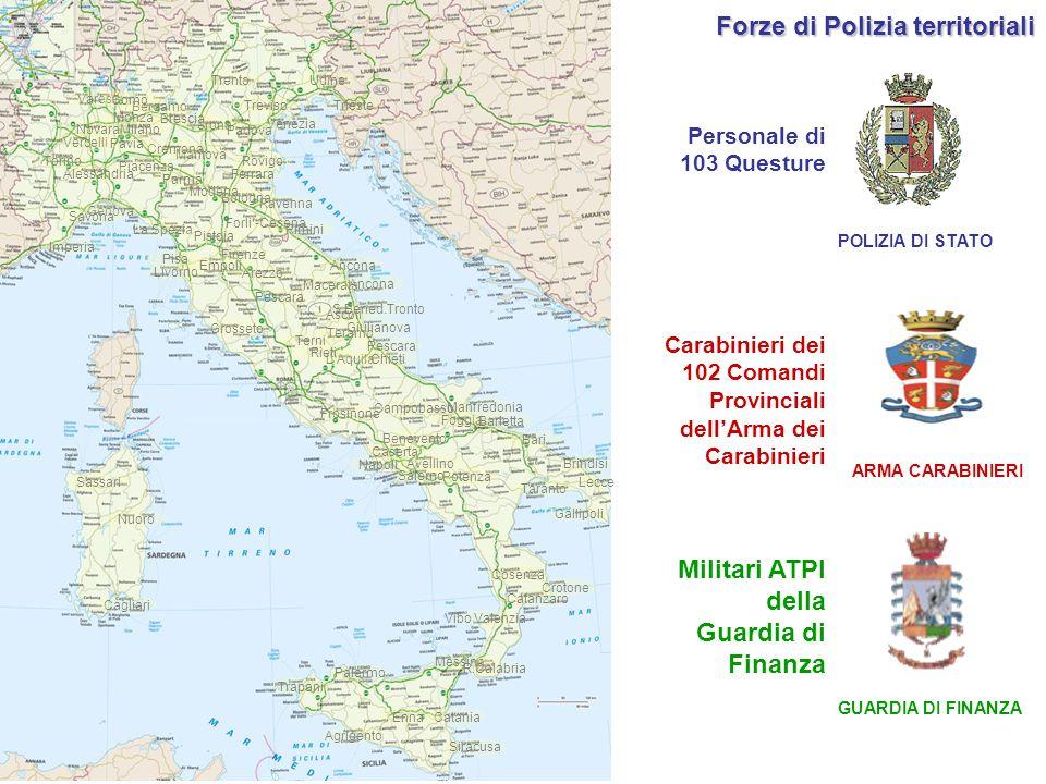 Personale di 103 Questure Carabinieri dei 102 Comandi Provinciali dellArma dei Carabinieri Militari ATPI della Guardia di Finanza ARMA CARABINIERI GUA