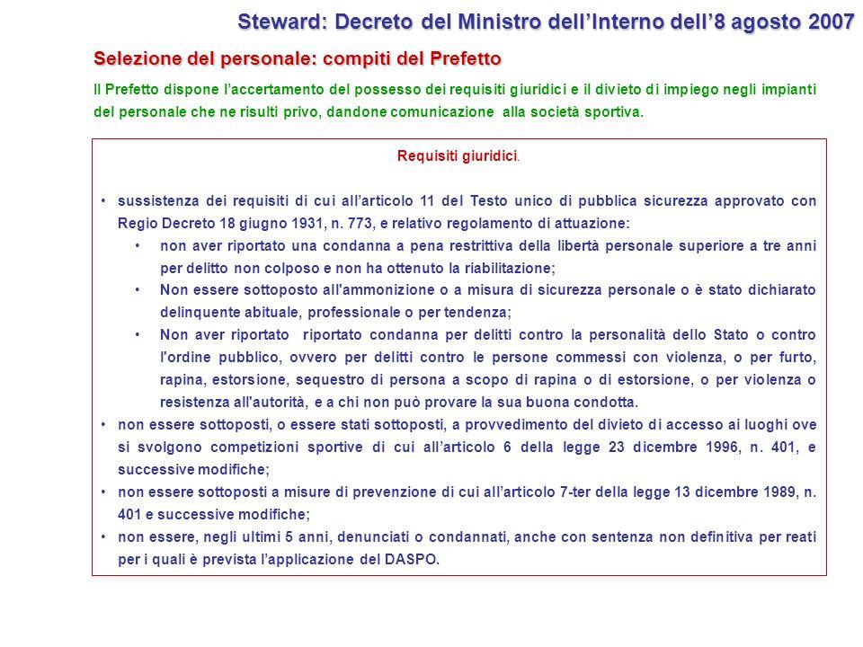 Selezione del personale: compiti del Prefetto Il Prefetto dispone laccertamento del possesso dei requisiti giuridici e il divieto di impiego negli imp