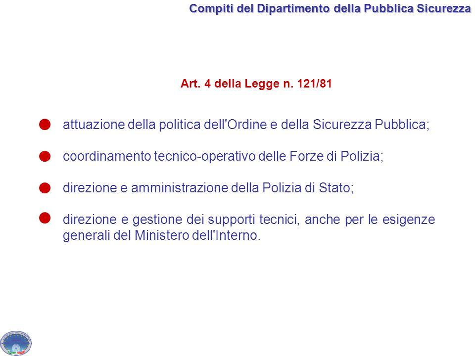 Compiti del Dipartimento della Pubblica Sicurezza attuazione della politica dell'Ordine e della Sicurezza Pubblica; coordinamento tecnico-operativo de