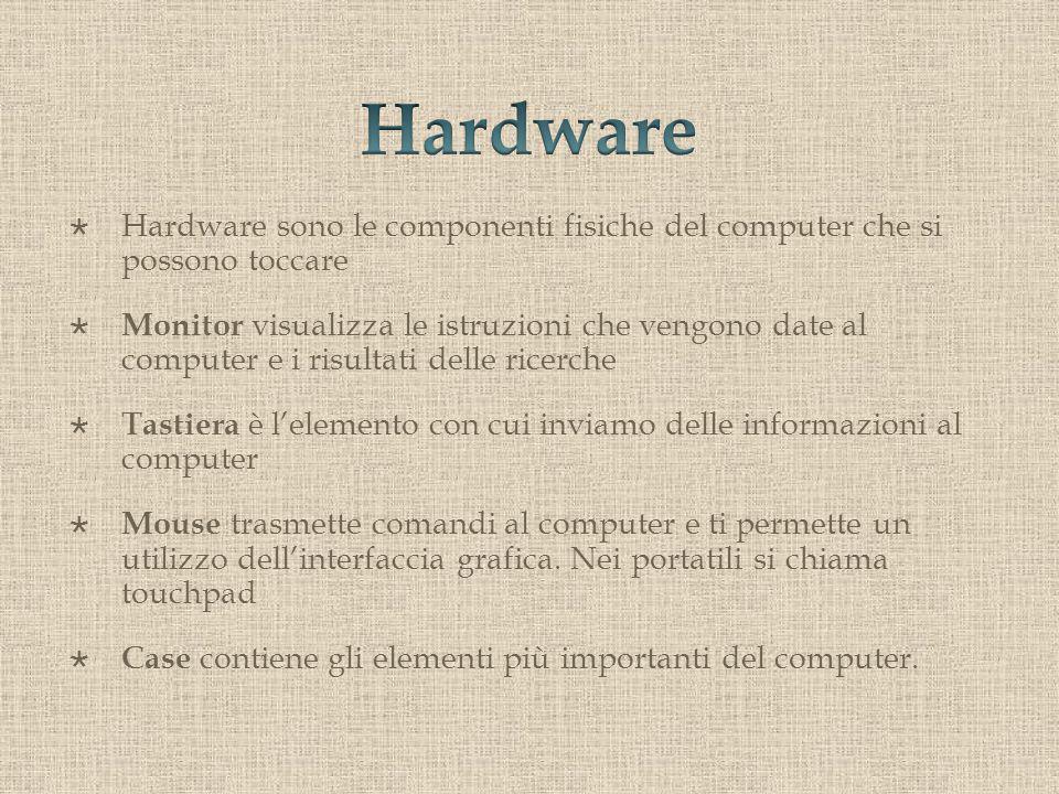 Hardware sono le componenti fisiche del computer che si possono toccare Monitor visualizza le istruzioni che vengono date al computer e i risultati delle ricerche Tastiera è lelemento con cui inviamo delle informazioni al computer Mouse trasmette comandi al computer e ti permette un utilizzo dellinterfaccia grafica.