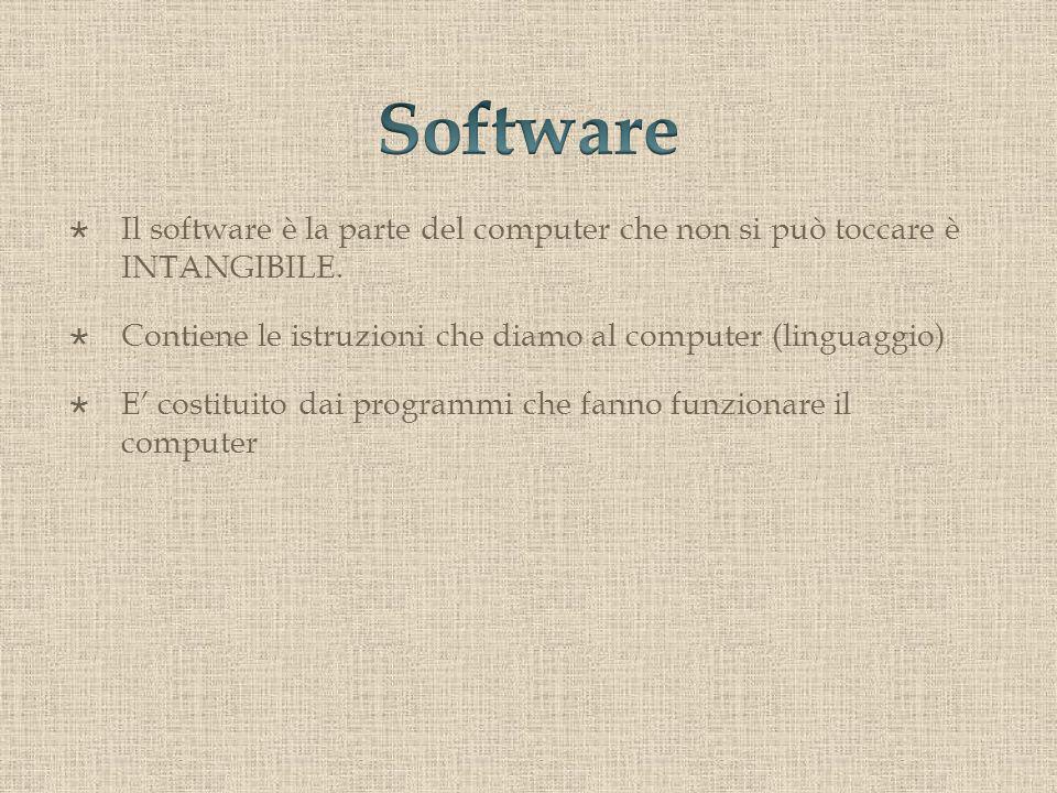 Il software è la parte del computer che non si può toccare è INTANGIBILE.