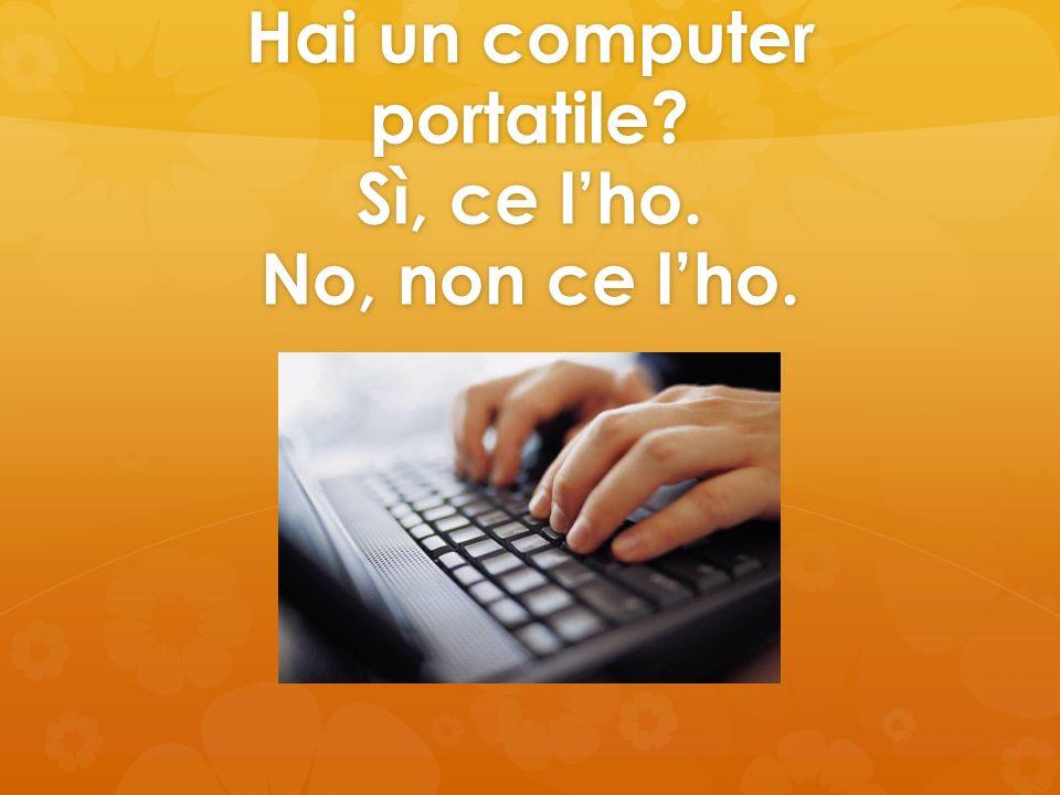 Hai un computer portatile? Sì, ce lho. No, non ce lho.