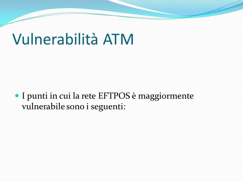 Vulnerabilità ATM I punti in cui la rete EFTPOS è maggiormente vulnerabile sono i seguenti: