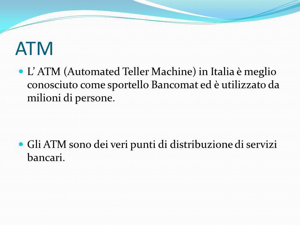 ATM Prelievo contanti Versamento contanti/assegni Ricarica delle carte prepagate per telefoni cellulari Informazioni conti Pagamenti e utenze Donazioni Pagamento dei biglietti aerei Etc…
