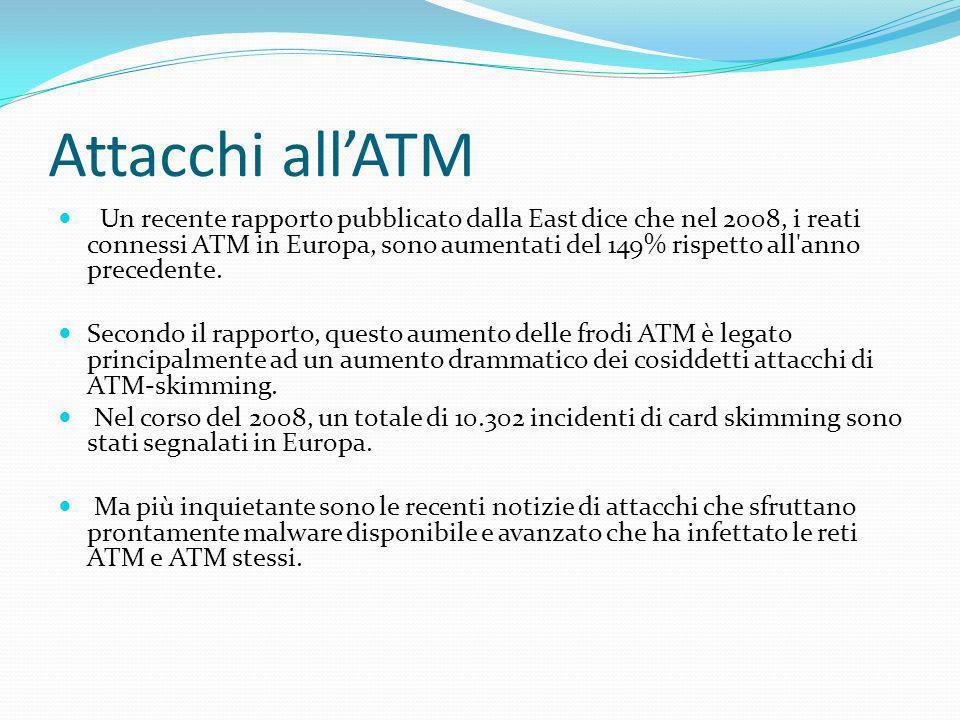 Un recente rapporto pubblicato dalla East dice che nel 2008, i reati connessi ATM in Europa, sono aumentati del 149% rispetto all'anno precedente. Sec