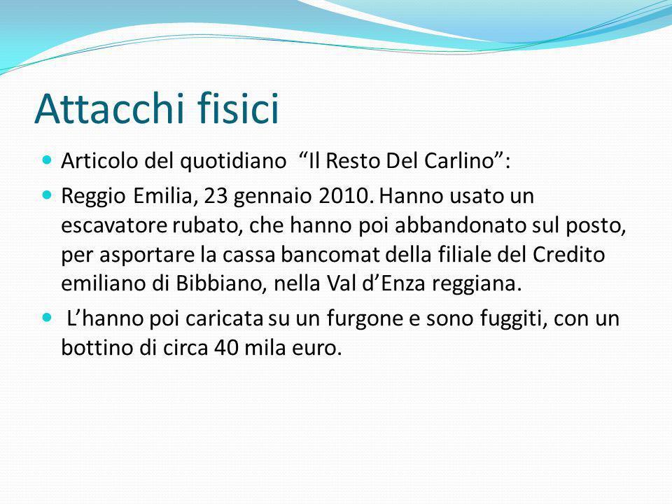 Articolo del quotidiano Il Resto Del Carlino: Reggio Emilia, 23 gennaio 2010. Hanno usato un escavatore rubato, che hanno poi abbandonato sul posto, p