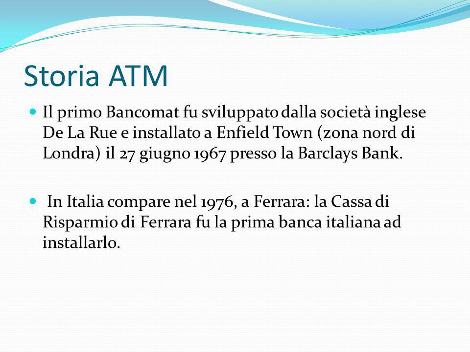 Storia ATM Il primo Bancomat fu sviluppato dalla società inglese De La Rue e installato a Enfield Town (zona nord di Londra) il 27 giugno 1967 presso