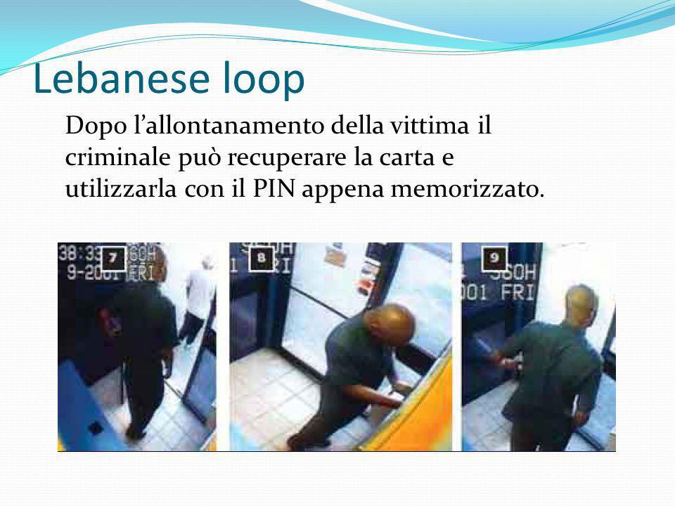 Dopo lallontanamento della vittima il criminale può recuperare la carta e utilizzarla con il PIN appena memorizzato.