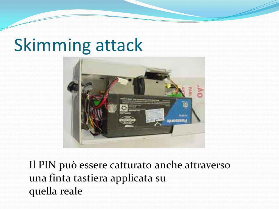 Skimming attack Il PIN può essere catturato anche attraverso una finta tastiera applicata su quella reale