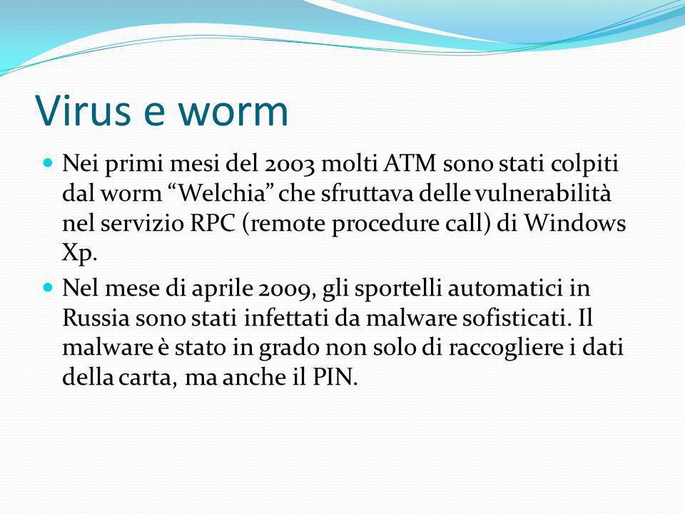 Virus e worm Nei primi mesi del 2003 molti ATM sono stati colpiti dal worm Welchia che sfruttava delle vulnerabilità nel servizio RPC (remote procedur