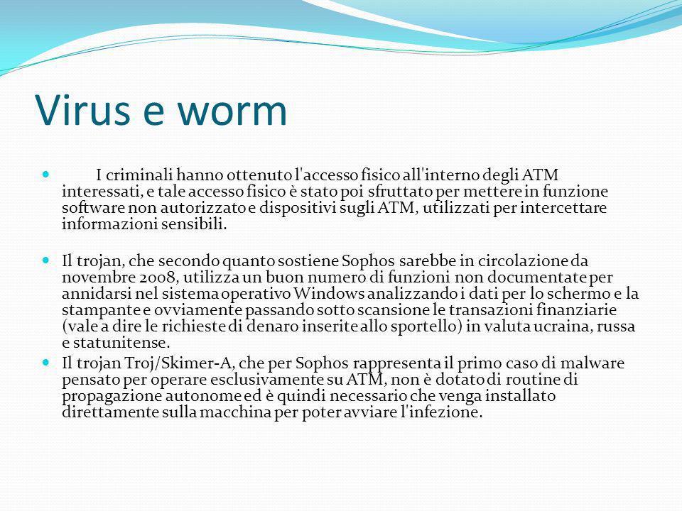 Virus e worm I criminali hanno ottenuto l'accesso fisico all'interno degli ATM interessati, e tale accesso fisico è stato poi sfruttato per mettere in