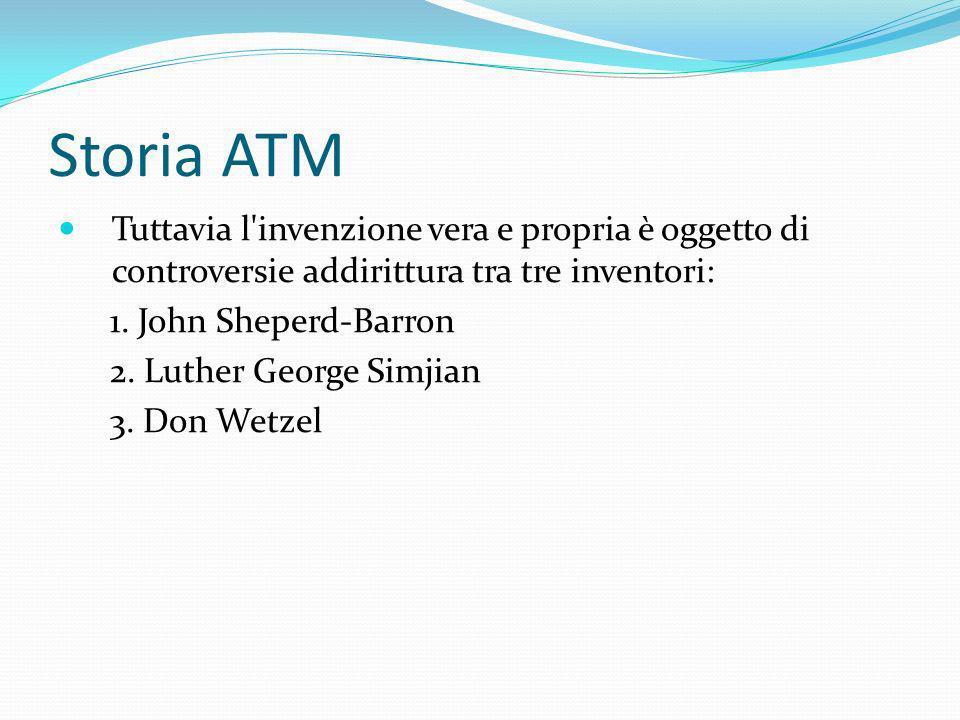 Storia ATM Tuttavia l'invenzione vera e propria è oggetto di controversie addirittura tra tre inventori: 1. John Sheperd-Barron 2. Luther George Simji