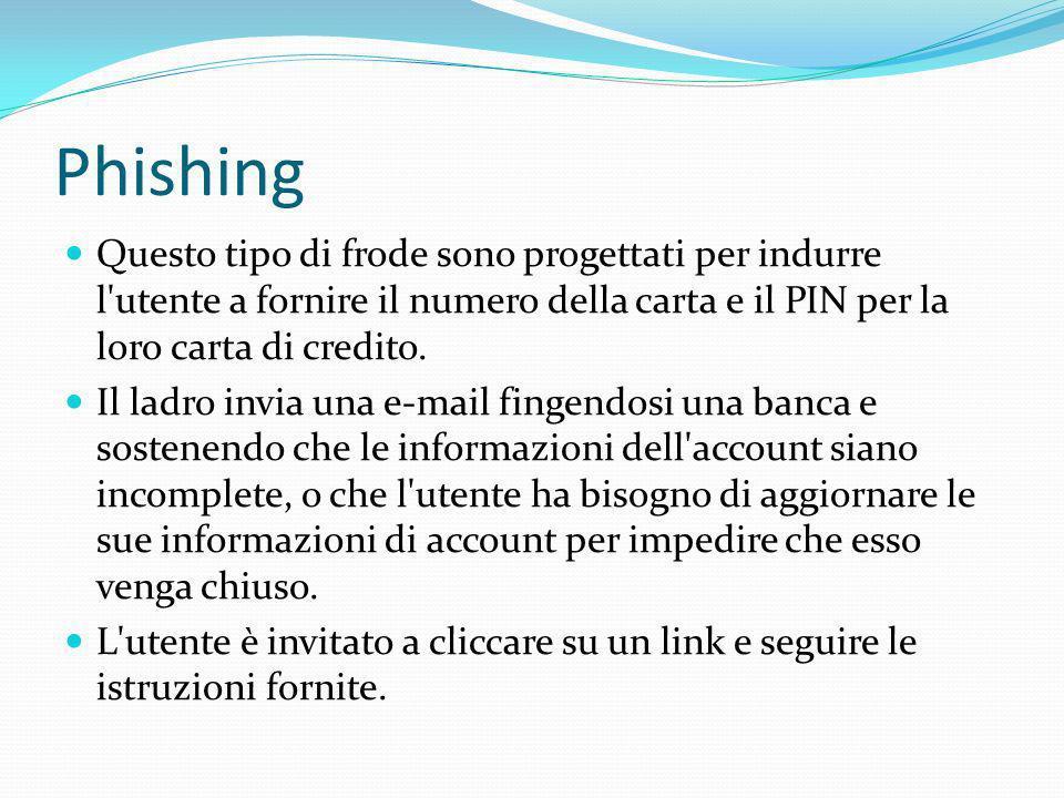 Phishing Questo tipo di frode sono progettati per indurre l'utente a fornire il numero della carta e il PIN per la loro carta di credito. Il ladro inv