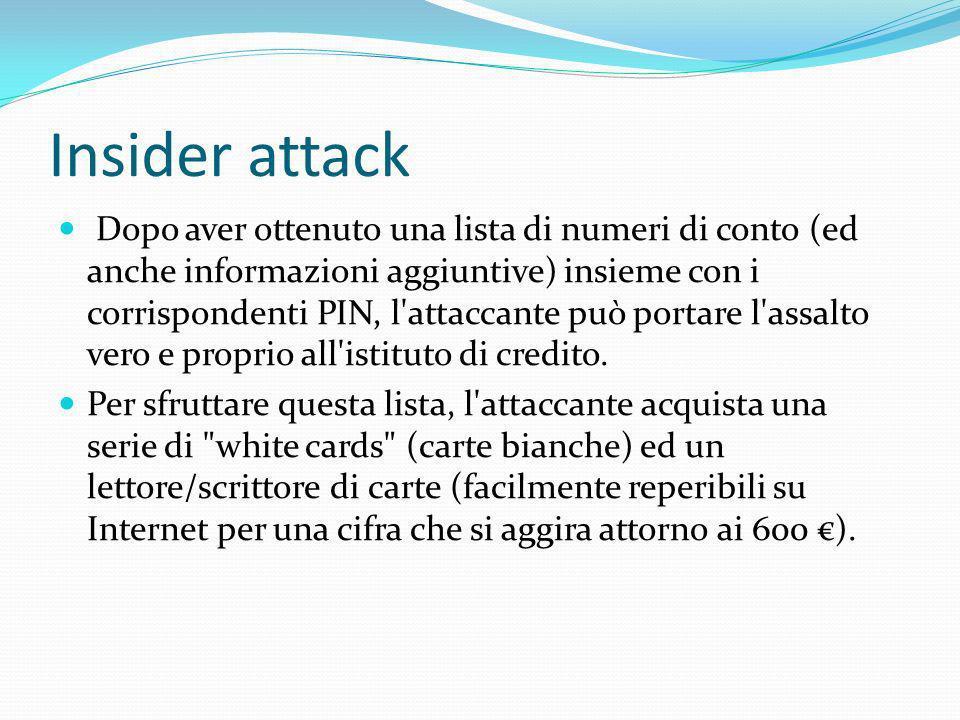Insider attack Dopo aver ottenuto una lista di numeri di conto (ed anche informazioni aggiuntive) insieme con i corrispondenti PIN, l'attaccante può p