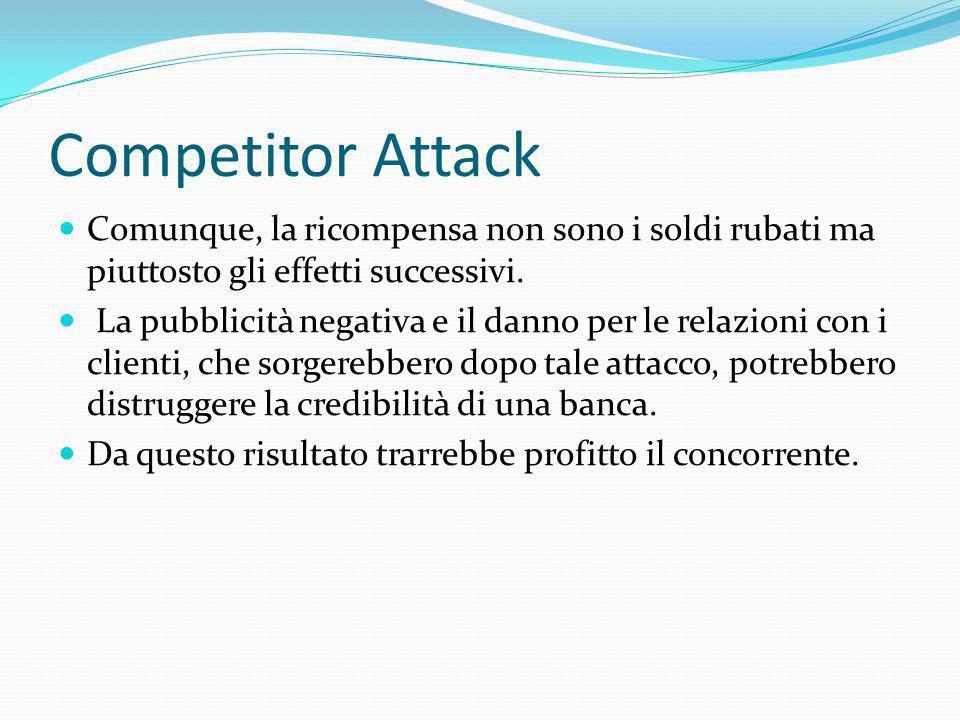 Competitor Attack Comunque, la ricompensa non sono i soldi rubati ma piuttosto gli effetti successivi. La pubblicità negativa e il danno per le relazi