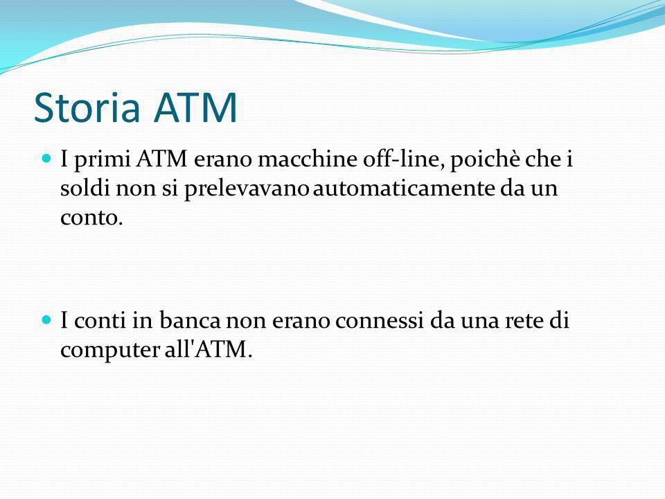 Storia ATM I primi ATM erano macchine off-line, poichè che i soldi non si prelevavano automaticamente da un conto. I conti in banca non erano connessi