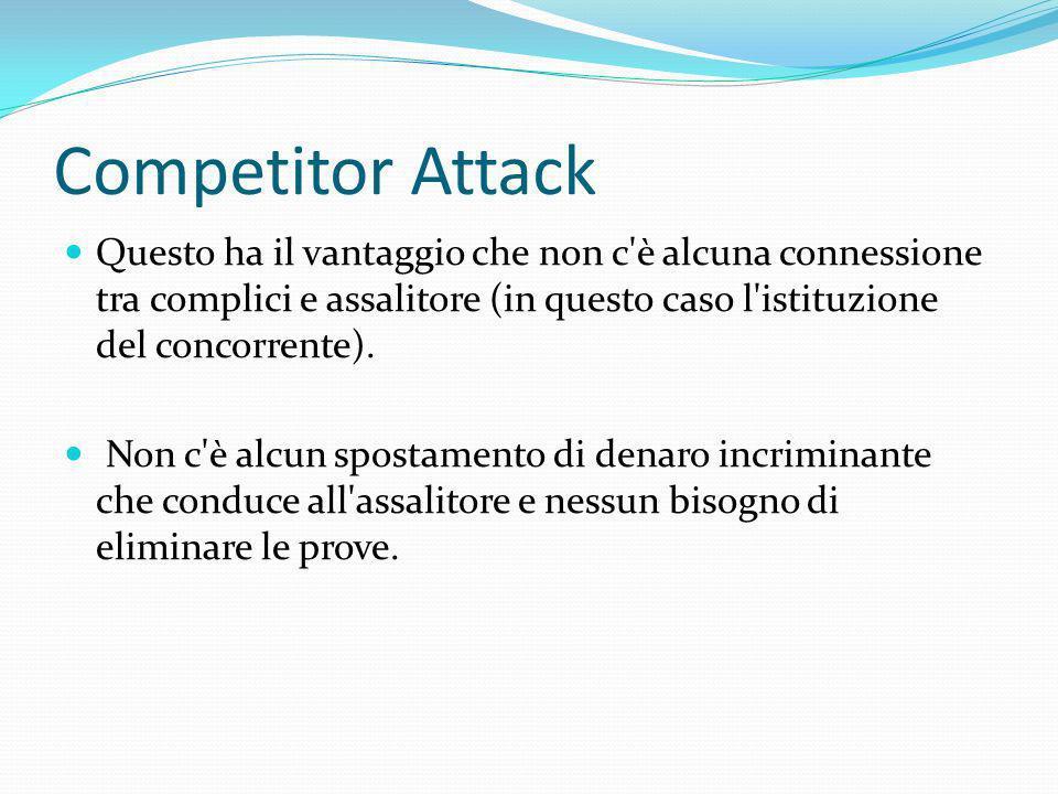 Competitor Attack Questo ha il vantaggio che non c'è alcuna connessione tra complici e assalitore (in questo caso l'istituzione del concorrente). Non