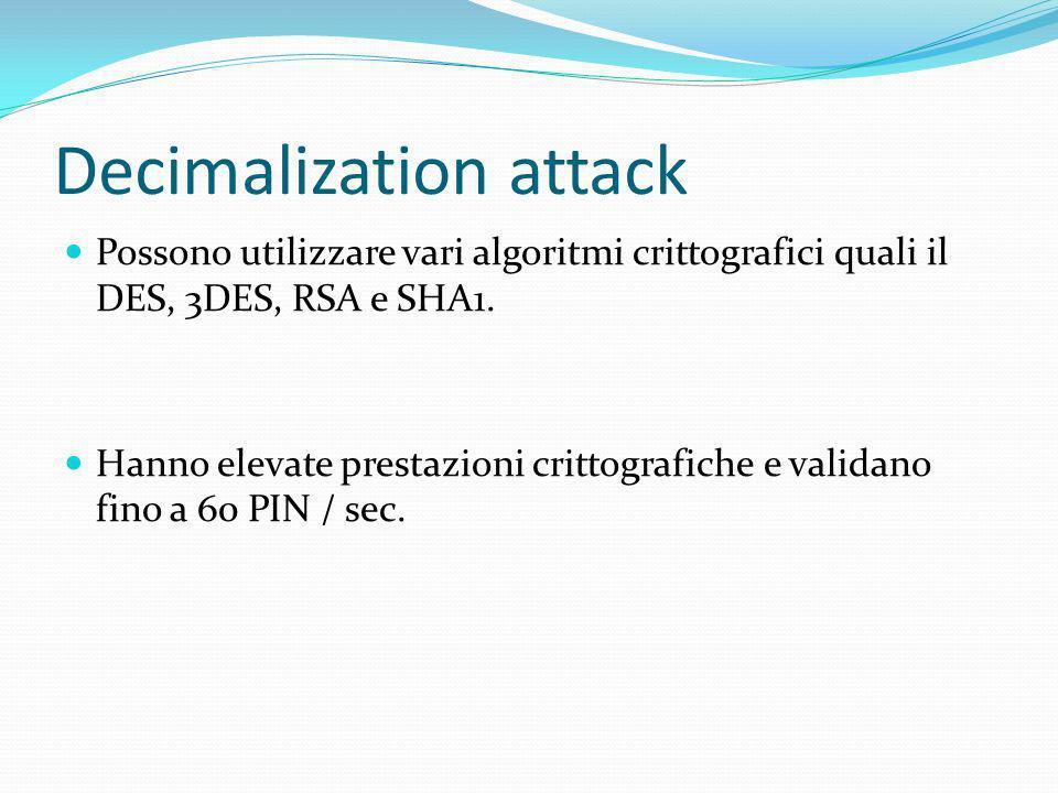 Decimalization attack Possono utilizzare vari algoritmi crittografici quali il DES, 3DES, RSA e SHA1. Hanno elevate prestazioni crittografiche e valid