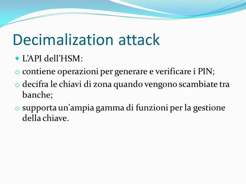 Decimalization attack LAPI dellHSM: o contiene operazioni per generare e verificare i PIN; o decifra le chiavi di zona quando vengono scambiate tra ba