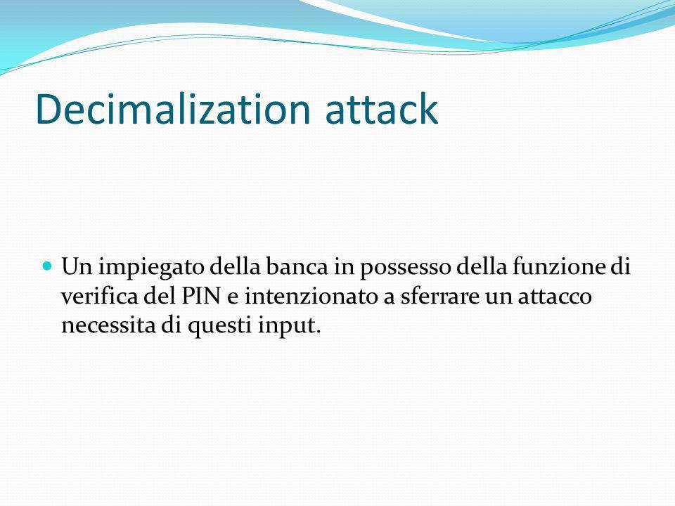 Decimalization attack Un impiegato della banca in possesso della funzione di verifica del PIN e intenzionato a sferrare un attacco necessita di questi