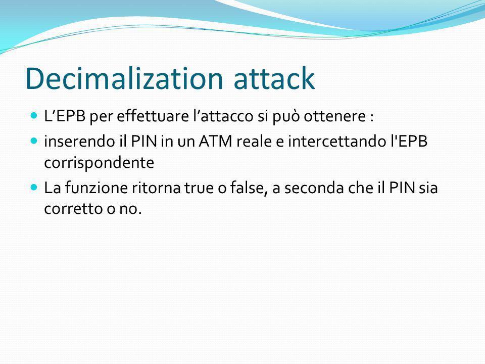 Decimalization attack LEPB per effettuare lattacco si può ottenere : inserendo il PIN in un ATM reale e intercettando l'EPB corrispondente La funzione