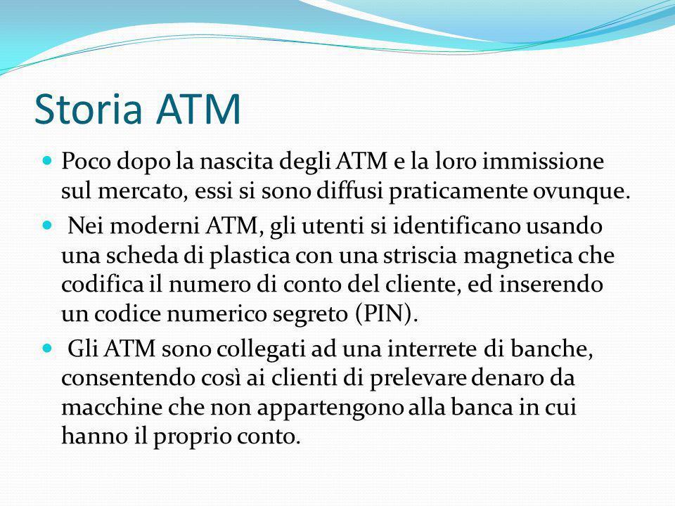 Funzionamento ATM Per accedere agli ATM vengono utilizzate delle schede, dette carte ATM( corredate di una banda magnetica e di un microchip) che hanno associato un codice PIN che l utente deve digitare ogni volta che desidera effettuare un operazione da uno sportello bancomat.