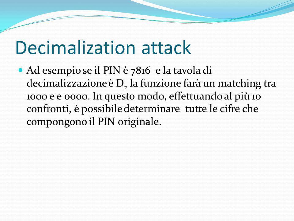 Decimalization attack Ad esempio se il PIN è 7816 e la tavola di decimalizzazione è D 7 la funzione farà un matching tra 1000 e e 0000. In questo modo