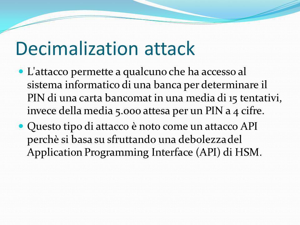 Decimalization attack L'attacco permette a qualcuno che ha accesso al sistema informatico di una banca per determinare il PIN di una carta bancomat in
