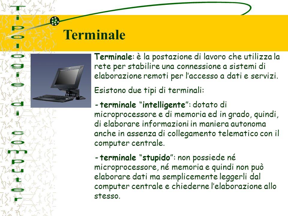 Terminale: è la postazione di lavoro che utilizza la rete per stabilire una connessione a sistemi di elaborazione remoti per laccesso a dati e servizi.