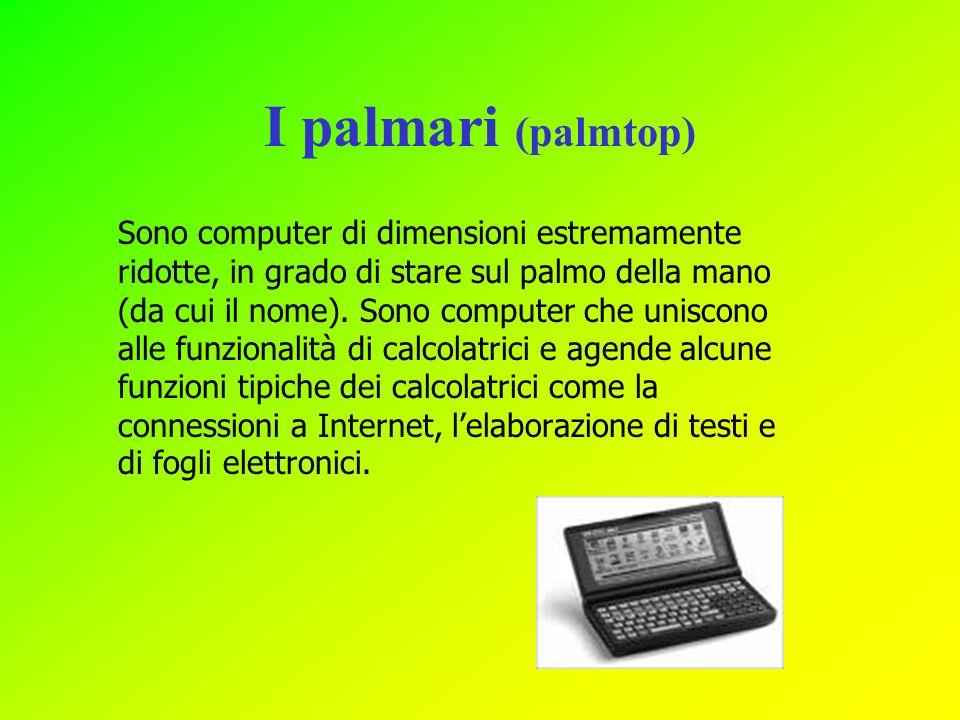 I palmari (palmtop) Sono computer di dimensioni estremamente ridotte, in grado di stare sul palmo della mano (da cui il nome). Sono computer che unisc
